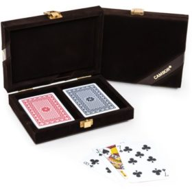 The Michael- 100% Plastic Washable Playing Cards In Velour Case – Brown