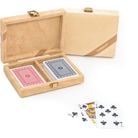 The Michael- 100% Plastic Washable Playing Cards In Velour Case – Ivory