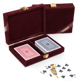 The Michael- 100% Plastic Washable Playing Cards In Velour Case – Maroon
